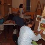 allieve del laboratorio di pittura